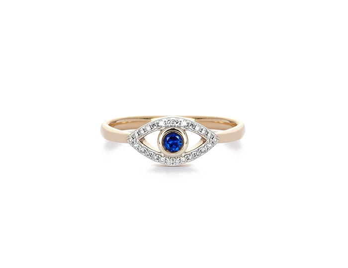 blue sapphire and diamond evil eye ring